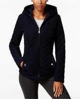 Laundry by Design Petite Faux-Fur-Lined Hooded Quilted Jacket