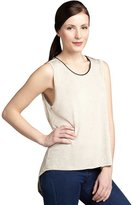 LnA oatmeal and black jersey faux-leather trimmed tank