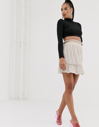 TFNC highwaisted pleated mini skirt in pearl pink