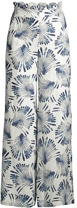 Azulu Tesoro Scallop-Waist Printed Linen Wide-Leg Pants