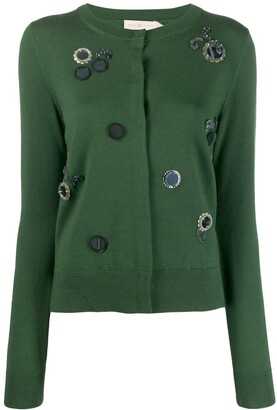 Tory Burch embroidery embellished cardigan