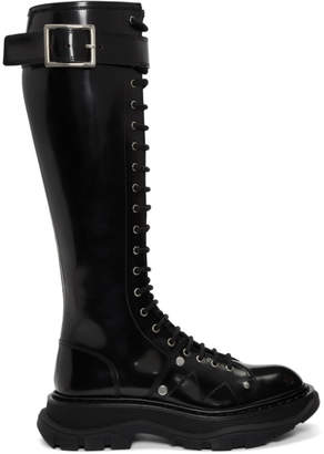 Alexander McQueen Black Tread Lace-Up Tall Boots