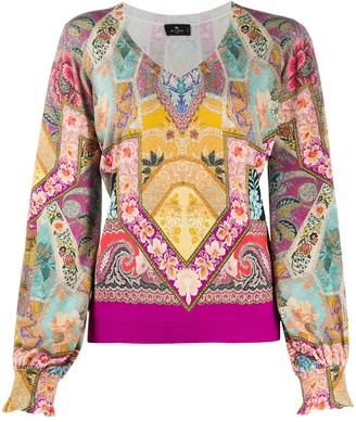 Etro Tapestry-Print Jersey Top