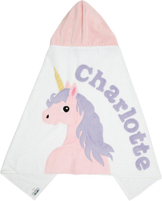 Boogie Baby Personalized Unicorn Hooden Towel, White