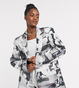 Collusion Unisex oversized blazer in photographic print
