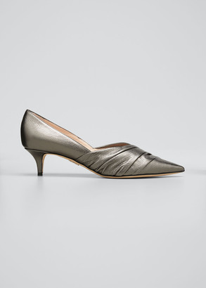 Rodo Metallic Pleated Kitten-Heel Pumps