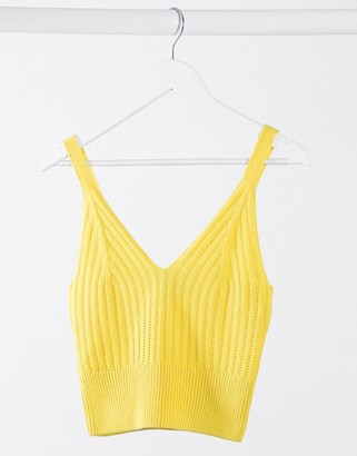 New Look cropped knitted bralet in yellow