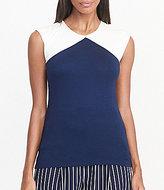 Lauren Ralph Lauren Round Neck Cap Sleeve Color-Blocked Knit Jersey Top