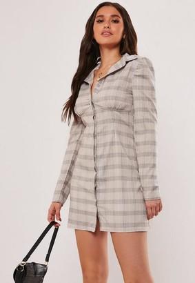 Missguided Gray Plaid Print Bust Seam Shirt Dress
