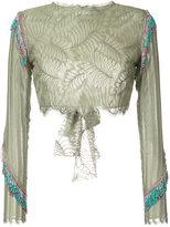 Baja East fringed cropped lace blouse - women - Rayon/Nylon - 0