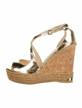 Jimmy Choo Patent Leather Espadrilles Gold