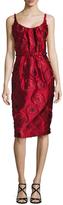 Oscar de la Renta Floral Embroidered Knee Length Dress