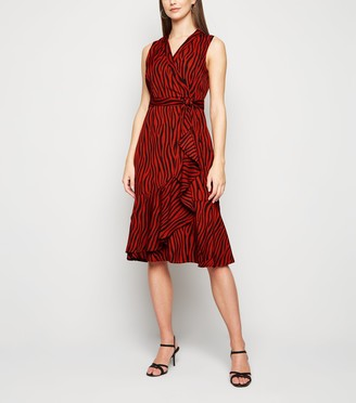 New Look Mela Zebra Print Wrap Midi Dress