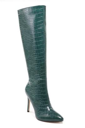 Catherine Malandrino Mintie Knee High Croc Embossed Stiletto Boot