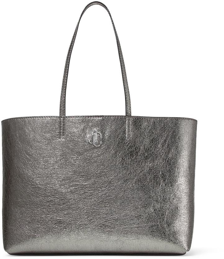 Jimmy Choo NINE2FIVE E/W Metallic Gunmetal Distressed Fabric Tote Bag with JC Logo