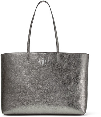 Jimmy Choo NINE2FIVE E/W Metallic Gunmetal Distressed Fabric Tote Bag with JC Logo