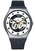 Swatch Watch, Unisex Swiss Silver Glam Black Silicone Strap 41mm SUOZ147