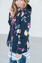 Joules Coast Print Waterproof Hooded Jacket - Navy Floral