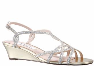 Nina Adjustable Strappy Rhinestone Wedge Sandals - Fancie