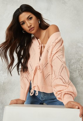 Missguided Rose Pointelle Tie Front Knit Cardigan