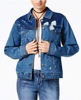 Rampage Juniors' Splatter-Printed Denim Jacket