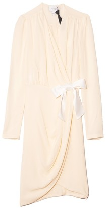 Giambattista Valli Long Sleeve Silk Crepe Wrap Dress in Ivoire