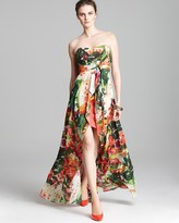 Nicole Miller Strapless Dress - High Low Floral