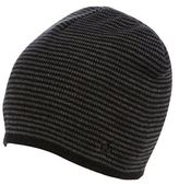 Jeff Banks Black Fine Striped Beanie Hat
