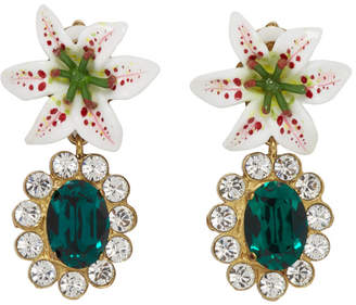 Dolce & Gabbana White Crystal Lily Earrings