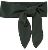 Chloé Silk Crepe De Chine Scarf - Forest green