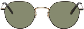 Garrett Leight Gold and Black Robson 48 Sunglasses