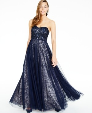 Say Yes to the Prom Juniors' Sequin-Trim Strapless Lace Gown, Created for Macy's
