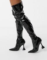 Asos Design DESIGN Karma patent over the knee boot