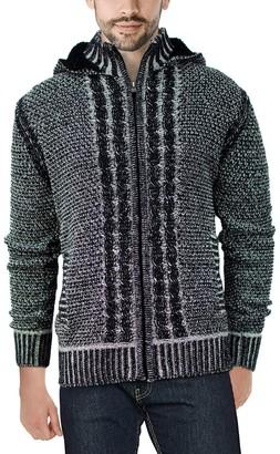 X-Ray Men's Hooded Full-Zip High-Neck Sweater Jacket