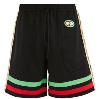 Gucci GG-patch Web Stripe Jersey Shorts - Black Multi