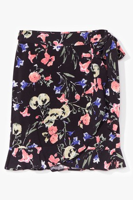 Nasty Gal Womens Thanks a Bunch Floral Wrap Mini Skirt - Black - 4