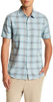 Topman Short Sleeve Teal Twist Check Regular Fit Shirt