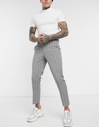 Asos DESIGN skinny pinstripe smart pants in gray