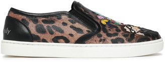 Dolce & Gabbana Appliqued Leopard-print Faux Leather Slip-on Sneakers