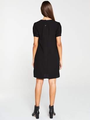 Very Short Sleeve Tunic Dress - Black