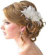 Jypc Women Feather Rhinestone Hair Clip for Wedding Party Accessory