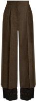 Maison Margiela Contrast-hem wide-leg wool-tweed trousers
