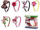 Bundle Monster 6pc Cute Handmade Grosgrain Ribbon Bows Toddler Girl Hair Headbands, SET A - Assorted Mix Lot Set