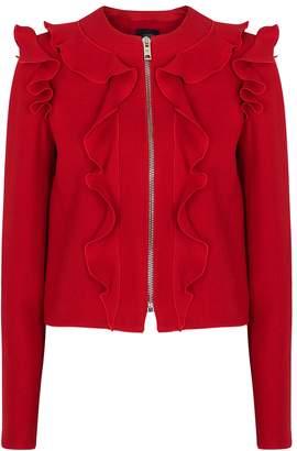 Giambattista Valli Red Ruffle-trimmed Wool Jacket