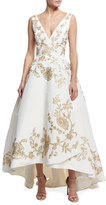 Oscar de la Renta Embroidered Silk Faille High-Low Gown, White