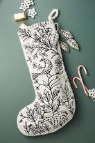 Anthropologie Stitched Scene Stocking