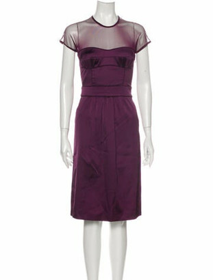 Burberry Crew Neck Knee-Length Dress Purple
