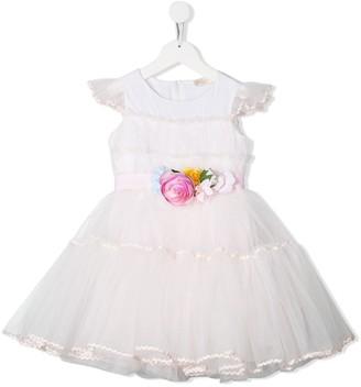MonnaLisa Tulle Floral-Applique Dress