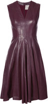Carolina Herrera sleeveless leather dress with gathered skirt and v neck