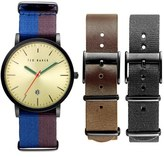Ted Baker Men's 'Smart Casual' Leather & Canvas Strap Watch Set, 40Mm